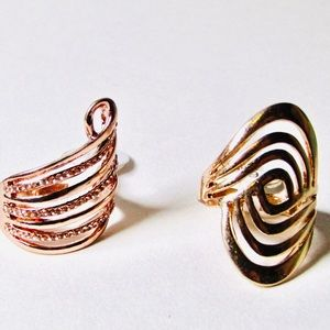 Rose and yellow gold plated swirl rings